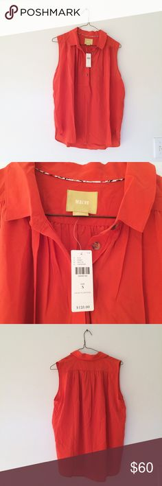 Anthropologie Maeve Silk Button Down Top Perfect for spring! Deep red coral color. Note: small black stain on back left shoulder, see last photo. Anthropologie Tops Blouses