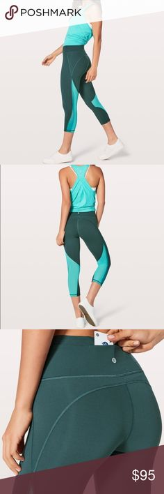 d956d2364 Spotted while shopping on Poshmark  NEW • Lululemon • Mix and Mesh Crop  Teal Green