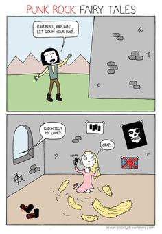 Funny pictures about Punk Fairy Tales. Oh, and cool pics about Punk Fairy Tales. Also, Punk Fairy Tales photos. Funny Shit, Funny Jokes, Memes Humor, Humor Videos, Punk Rock, Funny Images, Funny Pictures, 4 Panel Life, Iconic Characters
