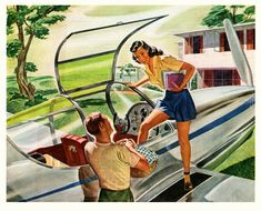 In 1999 people will live so far out in the countryside that they will need planes to get around, even for picnics, which they could have had just over there, under the tree.