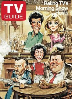 TV Guide May 1986 - Ted Danson, Shelley Long, John Ratzenberger, Rhea Perlman and George Wendt of Cheers. Illustration by Bruce Stark. Cartoon Faces, Funny Faces, Cartoon Art, Funny Caricatures, Celebrity Caricatures, Celebrity Drawings, Archie Comics, Cheers Tv Show, Cinema Tv