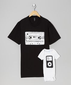 Take a look at the Little Treetops Black Cassette Tee & White iPod Bodysuit - Infant & Men on #zulily today!