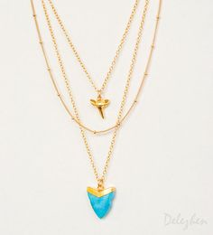 Layered Necklace Set - Set of 3 - Turquoise Shark Tooth Necklace - Layering Necklaces - Gold Necklace - Shark Tooth Necklace - Boho Chic