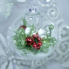 Large Glass Holly Red Berries Green Leaf Clear Bulb, Snow Traditional Handmade Ornament, OneOfAKind OOAK Christmas Holiday Tree Decoration by DetailsDelights on Etsy Holiday Tree, Christmas Holidays, Christmas Wreaths, Christmas Bulbs, Christmas Crafts, Tree Decorations, Christmas Decorations, Holiday Decor, Handmade Ornaments