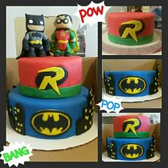 Two tier Batman and Robin cake. Vanilla cake with butter cream frosting and fondant. Cake toppers Funko fondant figurines.