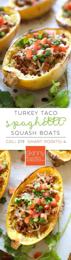 Turkey Taco Spaghetti Squash Boats ■ turkey taco meat, cheese and topped with pico de gallo. #spaghettisquash #spaghettisquashrecipe #glutenfree