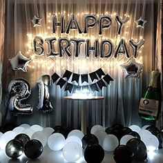 Birthday Party Decorations Kit Black and Silver Birthday Party Supplies Happy Birthday Balloons Banner Led String Lights Sliver 50 Foil Balloons Party Balloons 18 Birthday Party Decorations, Silver Party Decorations, Happy Birthday Balloon Banner, 70th Birthday Parties, Birthday Backdrop, 25th Birthday Ideas For Him, 70 Birthday, Women Birthday, 60 Birthday Party Ideas
