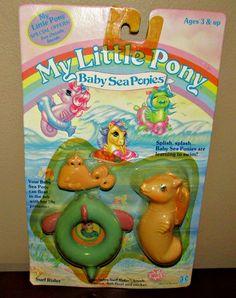 Vintage My Little Pony Surf Rider Baby Sea Pony Sticker Ribbon Brush 1984   eBay