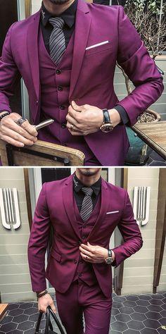 US$123.66 (48% OFF) Three Pieces Solid Color Slim Fit Blazer Suit for Men