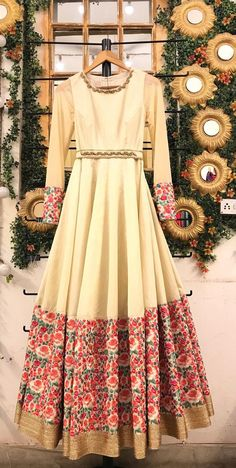 Champagne wedding gown with floral embroiderycocktail dress indo western engagem. Champagne wedding gown with floral embroiderycocktail dress indo western engagement Anarkali gown indian designer occasi. Indian Wedding Gowns, Party Wear Indian Dresses, Pakistani Wedding Outfits, Indian Gowns Dresses, Bridal Outfits, Bridal Dresses, Prom Dresses, Indian Attire, Indian Outfits