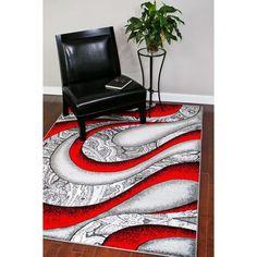 Persian Rugs Red/Grey/White/Black Polypropylene Modern Graphic Area Rug (7'10 x…