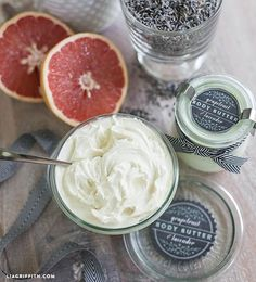 Homemade Whipped Body Butter - Grapefruit & Lavendar.    Love that combo; sounds super invigorating yet soothing … I absolutely have to try this!!! Tomorrow!
