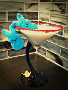 Drunken Peep Martini  2 ounces Smirnoff Fluffed Marshmallow vodka  1 ounce vanilla schnapps  1.5 ounces milk    Add ingredients to your shaker. Fill with ice. Then shake vigorously, and strain into a sugar-rimmed martini glass, garnished with two peeps or bunnies. Or, float your peeps or bunnies in the drink and enjoy your drunken, vodka soaked peep at the end!