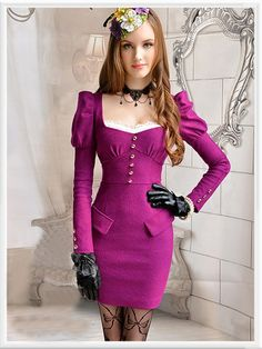 Morpheus Boutique  - Pinky Purple Long Sleeve Pleated Shoulder Pencil Dress, $129.99 (http://www.morpheusboutique.com/pinky-purple-long-sleeve-pleated-shoulder-pencil-dress/)
