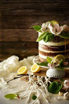 Black Sesame Lemon Cake with Lemon Curd and Mascarpone