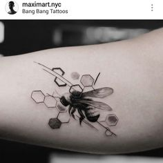 Black and gray bee tattoo by @maximart.nyc