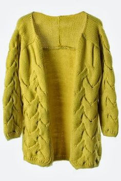 Loose Cable Knit Yellow Cardigan Click For More