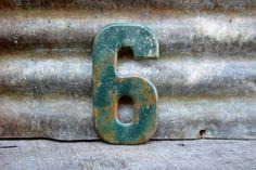 Vintage Metal Chippy Number 6 or 9 Sign Six by TheOldTimeJunkShop, $25.00