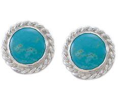 Beaded Turquoise Earring w/ Rope Edge 011-760