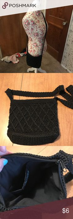 Black knitted shoulder bag Gently used black knitted shoulder bag. I don't know the dimensions and this was just something my daughter toted around. Nothing special but pretty darn cute. Bags Shoulder Bags