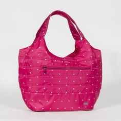 Polyester Twill Imported polyester lining Soft lined accessories pocket Front and back zip pocket Cargo pocket for water bottle in the main compartment Wipeable bottom with rubber feet Pink Handbags, Tote Handbags, Polka Dot Bags, Pink Tote Bags, Small Wallet, Cosmetic Case, Balenciaga City Bag, Purses And Bags, Crossbody Bag