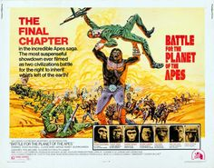 An original British quad movie poster x from 1973 for Battle for the Planet of the Apes. Art by Robert Tanenbaum. Revolution, Battle Of The Planets, Planet Of The Apes, Original Movie, Film Posters, Civilization, Science Fiction, Novels, The Incredibles