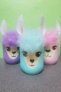 Llama Birthday, Birthday Diy, Unicorn Birthday, Alpacas, Diy Crafts For Girls, Arts And Crafts, Mason Jar Crafts, Mason Jars, Llama Decor