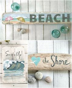 Beach Seaside Art Paintings on Driftwood Beautiful beach art paintings on driftwood pieces. Special seaside art to display in your home. Driftwood Art Featured on Completely Coastal.