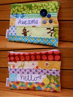 make it perfect: Patchwork and Stitched Word Pouches Brooke, this reminds me of u. Fabric Bags, Fabric Scraps, Fabric Basket, Scrap Fabric Projects, Sewing Projects, Sewing Tutorials, Sewing Crafts, Bag Tutorials, Zipper Pouch Tutorial