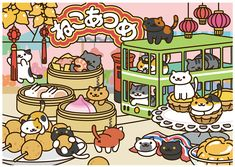 World's First Official Neko-Atsume Store Is Limited Time Only, But Has Such Adorable Goods – grape Japan Cat Collector, Image Chat, Neko Atsume, Cute App, Neko Cat, Kitty Games, Cute Animal Drawings, Cat Drawing, Kawaii Cute