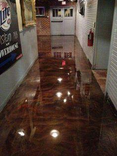 Metallic epoxy, painting concrete floors.