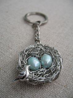 Mother of two - Mother and Sons Personalized Keychain - Twin / two boys Mother Bird Nest Personalized Keychain / Keyring. $36.00, via Etsy.