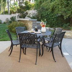 Noble House Hallandale Black Sand 7 Piece Aluminum Outdoor Dining Set