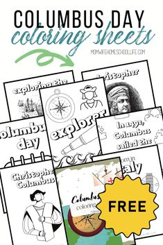 Looking for Columbus Day Coloring sheets? Grab this free download to celebrate Columbus Day in your homeschool. These Christopher Columbus coloring worksheets can also be used at any time to correspond with your history lesson.Read more... Coloring Book Pages, Coloring Pages For Kids, Coloring Sheets, Kinesthetic Learning, Alternative Education, Social Studies Activities, How To Start Homeschooling, Columbus Day, Free Math