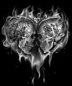 Skull Couple Tattoo, Skull Tattoo Flowers, Skull Rose Tattoos, Skull Girl Tattoo, Skull Tattoo Design, Skull Design, Couple Tattoos, Tattoos For Guys, Tattoo Designs