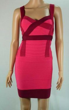 Attractive Pink Color Block Herve Leger Straps Bandage Dress