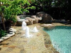 fountains-in-pool-ideas, stone, shallow wading area