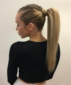 High Ponytail With Braided Top