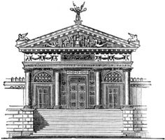 Elevation of an restored Etruscan Temple Showing doors, columns and carved figures