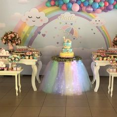 Image may contain: indoor Unicorn Themed Birthday Party, Rainbow Birthday Party, 1st Birthday Girls, Unicorn Party, Cake Table Birthday, Birthday Party Decorations, Baby Shower Decorations, Cloud Party, Rainbow Parties