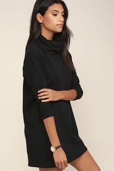 Black long sleeve jersey knit dress