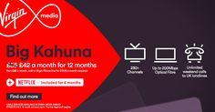 Virgin Media: Netflix for 6 months on us + £13 off/mth for 12mths on the Big Kahuna (£17.99/mth line rental). T&Cs app #vmshareit