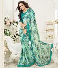 Green & Blue Color Georgette Party Wear Sarees : Mirtisha Collection  YF-43017