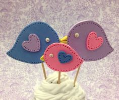 Bird Baby Shower Cake Toppers, Set of 3, Polymer Clay Mom, Dad & Baby, Party Decoration