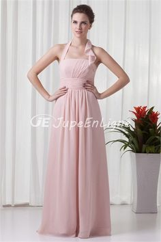 Great A-Line Halter Floor-Length Ruched Sleeveless