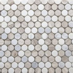 NS0043LBG - Marble Penny Round Mosaic, Mix Cream #pennytile #pennyround #marble…