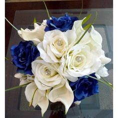 Real Touch Calla Lilies with Navy Blue Rose Bridal Bouquet found on Polyvore
