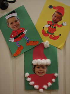 Ramblings of a Crazy Woman: Christmas Elves craft for students. Funny. Requires photos, glue, card and cotton balls.