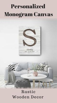 Personalized monogramed family name rustic wall decor, wooden canvas, modern farmhouse decor, anniversary gift, wedding gift, rustic home decor #Affiliate