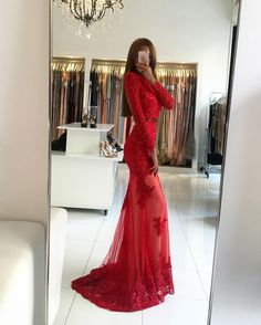 Charming Prom Dress,Long Sleeve Lace Mermaid Prom Dresses,Sexy